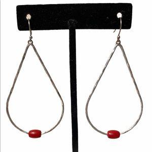 Lucky Brand | Silver & Red Tear Drop Earrings